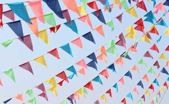 Triangular Flags Across The Sky